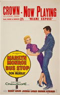 Movie/TV Memorabilia:Posters, Marilyn Monroe Bus Stop Vintage Window Card (1956)....