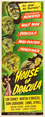 "House of Dracula (Universal, 1945). Insert (14"" X 36"")"