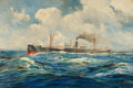 Fine Art - Painting, American:Modern  (1900 1949)  , FROM THE ESTATE OF CHARLES MARTGINETTE.. ANTON OTTO FISCHER(American, 1882-1962). Steamer Ship, 1929. Oil on canvas ...