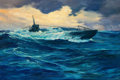Mainstream Illustration, ANTON OTTO FISCHER (American, 1882-1962). Submarine Emergingfrom the Deep, 1941. Oil on canvas. 24 x 36 in.. Signed and...