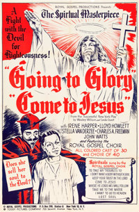 """Going to Glory, Come to Jesus (Toddy Pictures, 1946). One Sheet (27"""" X 41"""") and Herald (6"""" X 9"""")..."""