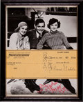 Movie/TV Memorabilia:Autographs and Signed Items, Clark Gable Signed Check with Myrna Loy Signed Photo....