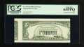 Error Notes:Skewed Reverse Printing, Fr. 1977-D $5 1981A Federal Reserve Note. PCGS Gem New 65PPQ.. ...