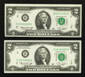 Error Notes:Mismatched Prefix Letters, Fr. 1935-B $2 1976 Federal Reserve Notes. Two Examples. ChoiceCrisp Uncirculated.. ... (Total: 2 notes)