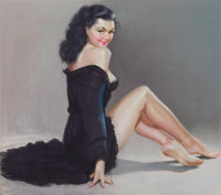 AMERICAN ARTIST (20th Century) Pin-Up in Black Pastel on board 23 x 26 in. Not signed  <