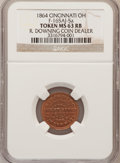 Civil War Merchants, 1864 R. Downing Coin Dealer, Cincinnati, OH MS63 Red and Brown NGC.Fuld-165AK-2a. Incorrectly attributed by NGC as Fuld-165...