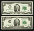Error Notes:Mismatched Prefix Letters, Fr. 1935-B $2 1976 Federal Reserve Notes. Two Examples. Very ChoiceCrisp Uncirculated.. ... (Total: 2 notes)