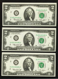 Error Notes:Mismatched Prefix Letters, Fr. 1935-B $2 1976 Federal Reserve Notes. Three Examples. ChoiceCrisp Uncirculated.. ... (Total: 3 notes)