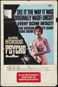 "Movie Posters:Hitchcock, Psycho (Universal, R-1969). One Sheet (27"" X 41""). Hitchcock.. ..."