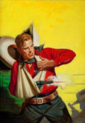 Pulp, Pulp-like, Digests, and Paperback Art, RICHARD LILLIS (American, 1899-1995). Sheriff in Red, Pulpmagazine cover, circa 1930s. Oil on canvas. 30 x 21 in.. Not...
