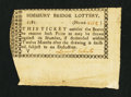 Colonial Notes:Connecticut, Simsbury Bridge Lottery, Connecticut. 1781. Very Fine.. ...
