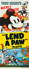 "Movie Posters:Animated, Lend a Paw (RKO, 1941). Australian Daybill (13"" X 30"").. ..."
