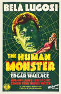 "Movie Posters:Horror, The Human Monster (Monogram, 1939). One Sheet (27"" X 41"").. ..."