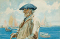 American:Marine, GORDON HOPE GRANT (American, 1875-1962). The Old Mariner,1927. Watercolor on paper. 11-1/4 x 17 inches (28.6 x 43.2 cm)...