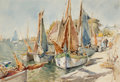 American:Marine, FLORENCE VINCENT ROBINSON (American, 1874-1937). HarborSailboats. Watercolor on paper. 12 x 15-1/2 inches (30.5 x 39.4...