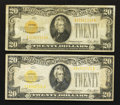 Small Size:Gold Certificates, Fr. 2402 $20 1928 Gold Certificates. Two Examples. Fine-Very Fine and Fine.. ... (Total: 2 notes)