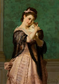Paintings, JOSEPH CARAUD (French, 1821-1905). Young Woman with Kitten. Oil on canvas laid on board. 19 x 13 inches (48.3 x 33.0 cm)...