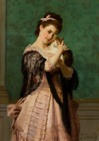 JOSEPH CARAUD (French, 1821-1905) Young Woman with Kitten Oil on canvas laid on board 19 x 13 inc