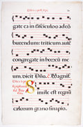 Antiques:Posters & Prints, Antiphonal Manuscript Leaf on Vellum. [Possibly Italy, n.d., ca.1500s]. Large leaf from missal or antiphoner containing 6 b...