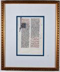 Antiques:Posters & Prints, [Illuminated Manuscript]. Illuminated Page of Text. [N.p., n.d.,ca. 1450]. Illuminated manuscript on vellum being a leaf fr...