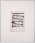 Antiques:Posters & Prints, [Illuminated Manuscript]. Illuminated Page of Text. [N.p., n.d.,ca. 1350]. Illuminated manuscript on vellum being a leaf fr...