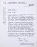 Books:Signed Editions, Vincent Bugliosi. Autograph Letter Signed. Two pages, stapled and dated 1990. Letter from Bugliosi to Paul Lazarus, chief of...