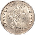 Early Dollars, 1799 $1 Irregular Date, 13 Stars Reverse AU55 PCGS. B-15, BB-152,R.3....