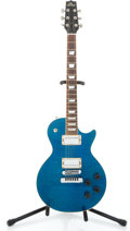 Musical Instruments:Electric Guitars, Heritage Single Cut Turquoise Blue Transparent Solid Body Electric Guitar #L15704...