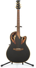 Musical Instruments:Acoustic Guitars, Unknown Ovation 1868 Black Acoustic Electric Guitar #350882...