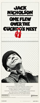 "One Flew Over the Cuckoo's Nest (United Artists, 1975). Insert (14"" X 36"")"