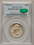 Washington Quarters, 1942-D 25C Doubled Die Obverse AU55 PCGS. CAC. FS-101....