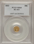 California Fractional Gold, 1853 50C Liberty Round 50 Cents, BG-421, R.4, MS64 PCGS....