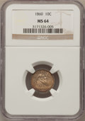 Seated Dimes: , 1860 10C MS64 NGC. NGC Census: (28/29). PCGS Population (36/22).Mintage: 606,000. Numismedia Wsl. Price for problem free N...