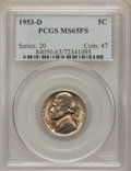 Jefferson Nickels: , 1953-D 5C MS65 Full Steps PCGS. PCGS Population (71/12). NGCCensus: (22/4). (#84050)...