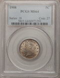Liberty Nickels: , 1908 5C MS64 PCGS. PCGS Population (216/84). NGC Census: (188/63).Mintage: 22,686,176. Numismedia Wsl. Price for problem f...