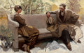Mainstream Illustration, HERBERT MORTON STOOPS (American, 1888-1948). Couple on ParkBench. Oil on canvas. 26 x 40 in.. Signed verso. Fromth...
