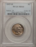 Buffalo Nickels: , 1927-D 5C MS64 PCGS. PCGS Population (385/56). NGC Census:(248/34). Mintage: 5,730,000. Numismedia Wsl. Price for problem ...