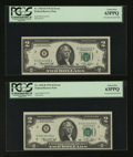 Error Notes:Mismatched Prefix Letters, Fr. 1935-B $2 1976 Federal Reserve Notes. Two Consecutive Examples.PCGS Choice New 63PPQ.. ... (Total: 2 notes)