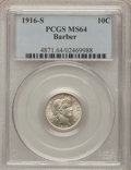 Barber Dimes: , 1916-S 10C MS64 PCGS. PCGS Population (79/34). NGC Census: (64/59).Mintage: 5,820,000. Numismedia Wsl. Price for problem f...