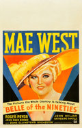 "Movie Posters:Comedy, Belle of the Nineties (Paramount, 1934). Window Card (14"" X 22"")....."