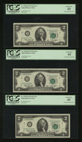Error Notes:Mismatched Prefix Letters, Fr. 1935-B $2 1976 Federal Reserve Notes. Three ConsecutiveExamples. PCGS Choice New 63.. ... (Total: 3 notes)
