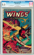 Golden Age (1938-1955):War, Wings Comics #121 (Fiction House, 1953) CGC VF 8.0 Off-white towhite pages....