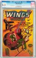 Golden Age (1938-1955):War, Wings Comics #115 (Fiction House, 1950) CGC VF+ 8.5 Off-white towhite pages....