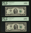 Error Notes:Mismatched Prefix Letters, Fr. 1935-B $2 1976 Federal Reserve Notes. Two Examples. PCGS VeryChoice New 64PPQ.. ... (Total: 2 notes)