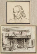 Mainstream Illustration, DEAN CORNWELL (American, 1892-1960). Two sketches: Portrait of aMan, Interior Scene. Charcoal pencil on paper. 6.5 x 8....