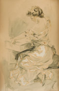 Mainstream Illustration, AMERICAN ARTIST (20th Century). Seated Woman. Watercolor onboard. 20.75 x 13.25 in.. Initialed lower right. From th...
