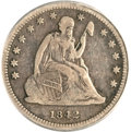 Seated Quarters, 1842-O 25C Small Date Fine 15 PCGS. CAC....