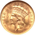 Three Dollar Gold Pieces, 1889 $3 MS63 NGC....