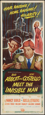 """Abbott and Costello Meet the Invisible Man (Universal International, 1951). Insert (14"""" X 36""""). Comedy"""
