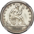 Seated Quarters, 1858 25C MS65 NGC....